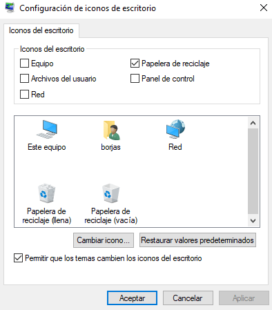 Masquer les icônes système dans Windows 10.