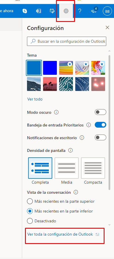 View all Outlook settings.