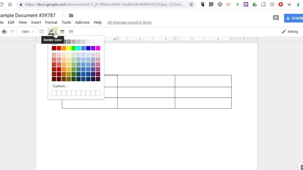 Google Docs 2 tables
