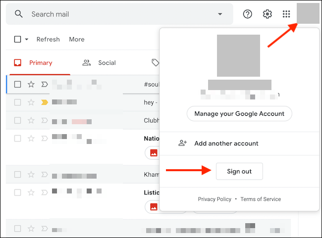Sign out of Gmail from your computer.