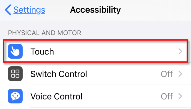 Touch in Settings.