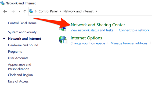 Network and sharing center.