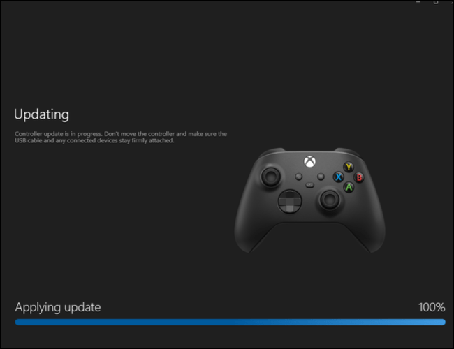 Install the update on the Xbox controller.