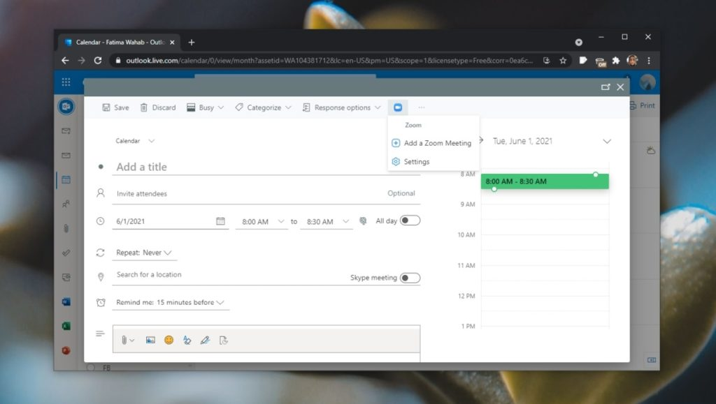 configure the Zoom Outlook 2 meeting