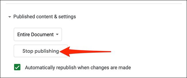 Arrêtez de publier la page Web.
