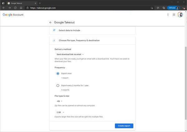De cette façon, nous utilisons Google Takeout pour exporter et télécharger des données depuis Google Drive