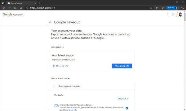 Nous avons commencé à utiliser Google Takeout pour exporter et télécharger nos données depuis Google Drive