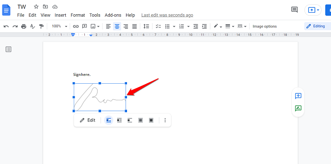 align sign drawing in google docs