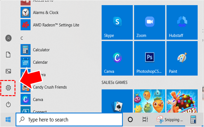 Windows settings.