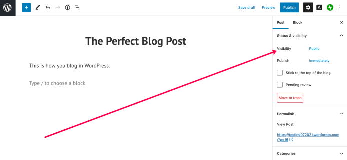Configure the visibility of WordPress posts.