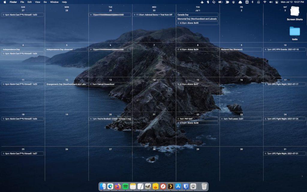 Use the Google Calendar web as a macOS desktop background