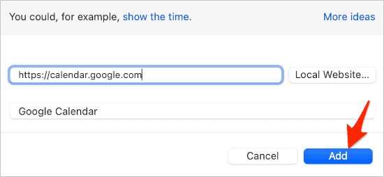 Add the Google Calendar website to use as a background on macOS.