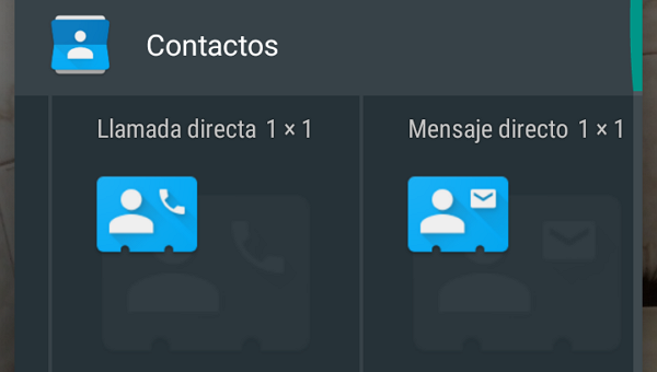 How to add widgets to send a message or directly call a contact