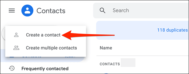 Create a new contact in Gmail.