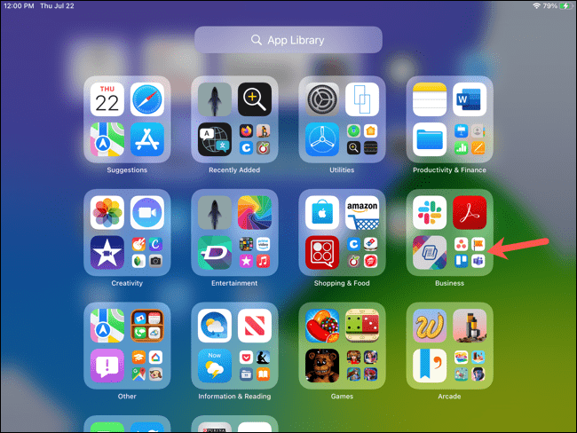 A group or category of apps in the iPad app library.
