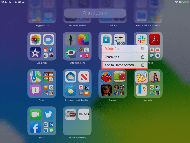 We can send an app to the home screen.