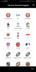Selected leagues