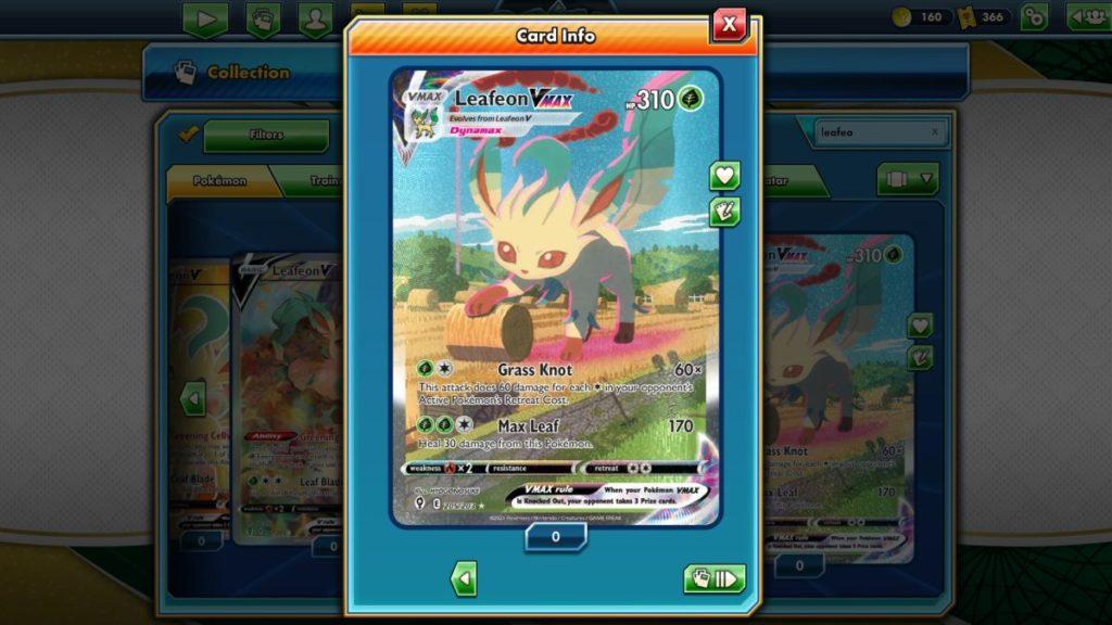 Pokemon TCG Online Evolving Skies Leafeon VMAX