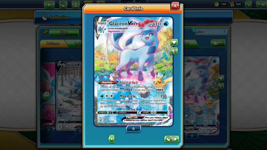 Pokemon TCG Online Evolving Skies Glaceon VMAX