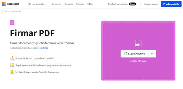 Smallpdf en tant que page pour créer une signature numérique