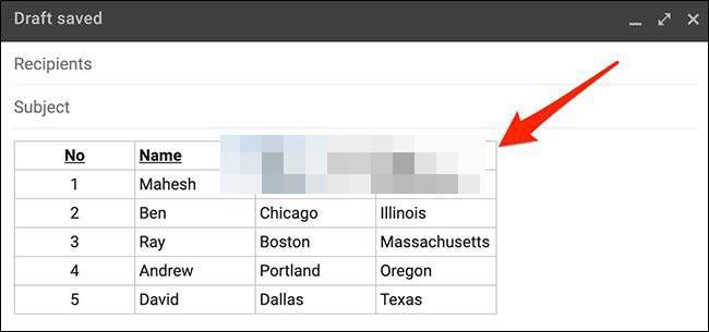 Nous avons donc réussi à insérer un tableau dans un e-mail Gmail depuis Windows.