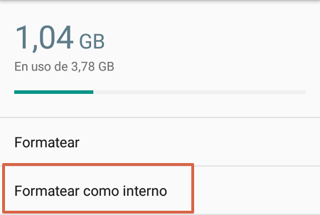 Format SD memory as internal storage to install apps step 4