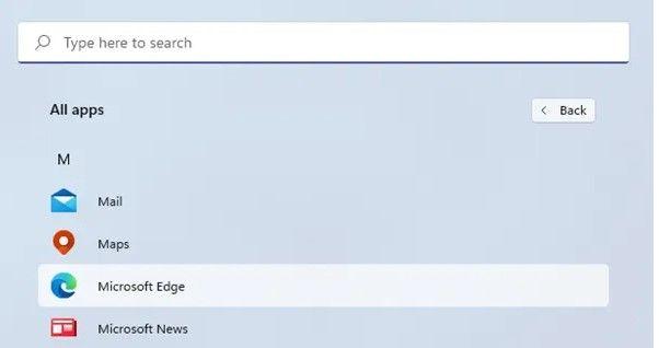De cette façon, nous pouvons localiser le menu Démarrer des applications Windows 11.