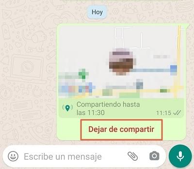 Comment envoyer l'emplacement en temps réel directement à partir de l'étape 3.1 de WhatsApp